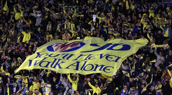 Villareal supporters unfurled a banner in tribute of victims in the Hillsbrough disaster