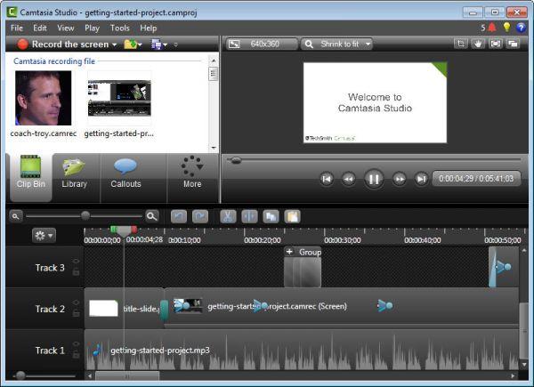 Giao diện phần mềm Camtasia Studio.