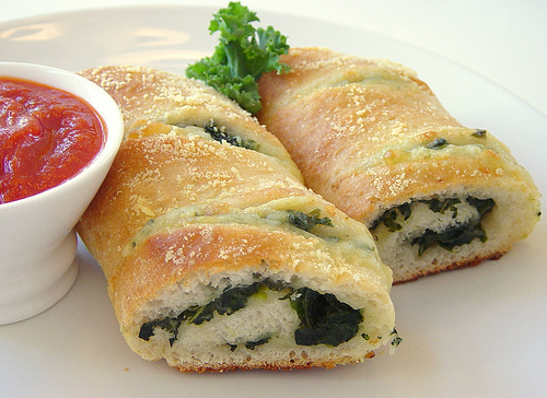 spinach and kale stromboli