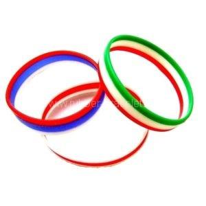 Personalized tricoloured silicone bracelets