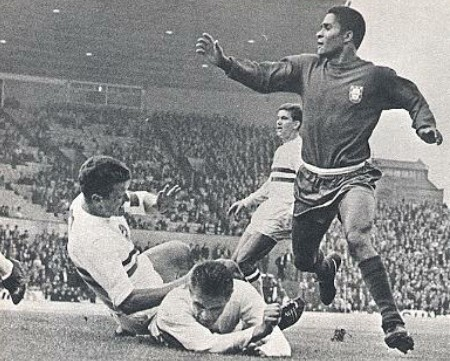 Eusebio in action against Hungary during the 1966 World Cup