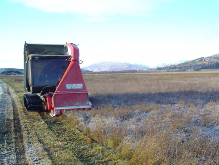 Insh marshes, Invertromie Meadow - Softrak fitted with a front mounted forage harvester (cut & collect system) harvesting biomass