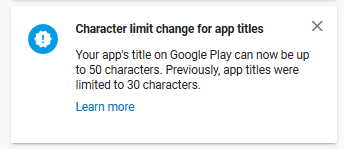 Character limit change for app title