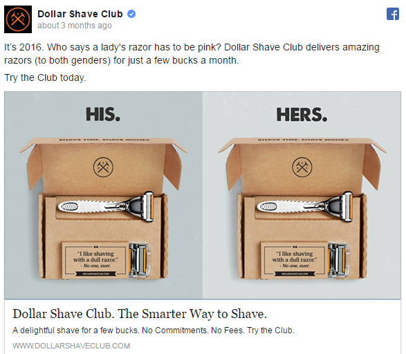 Facebook Ads Campaign by Dollar Shave Club