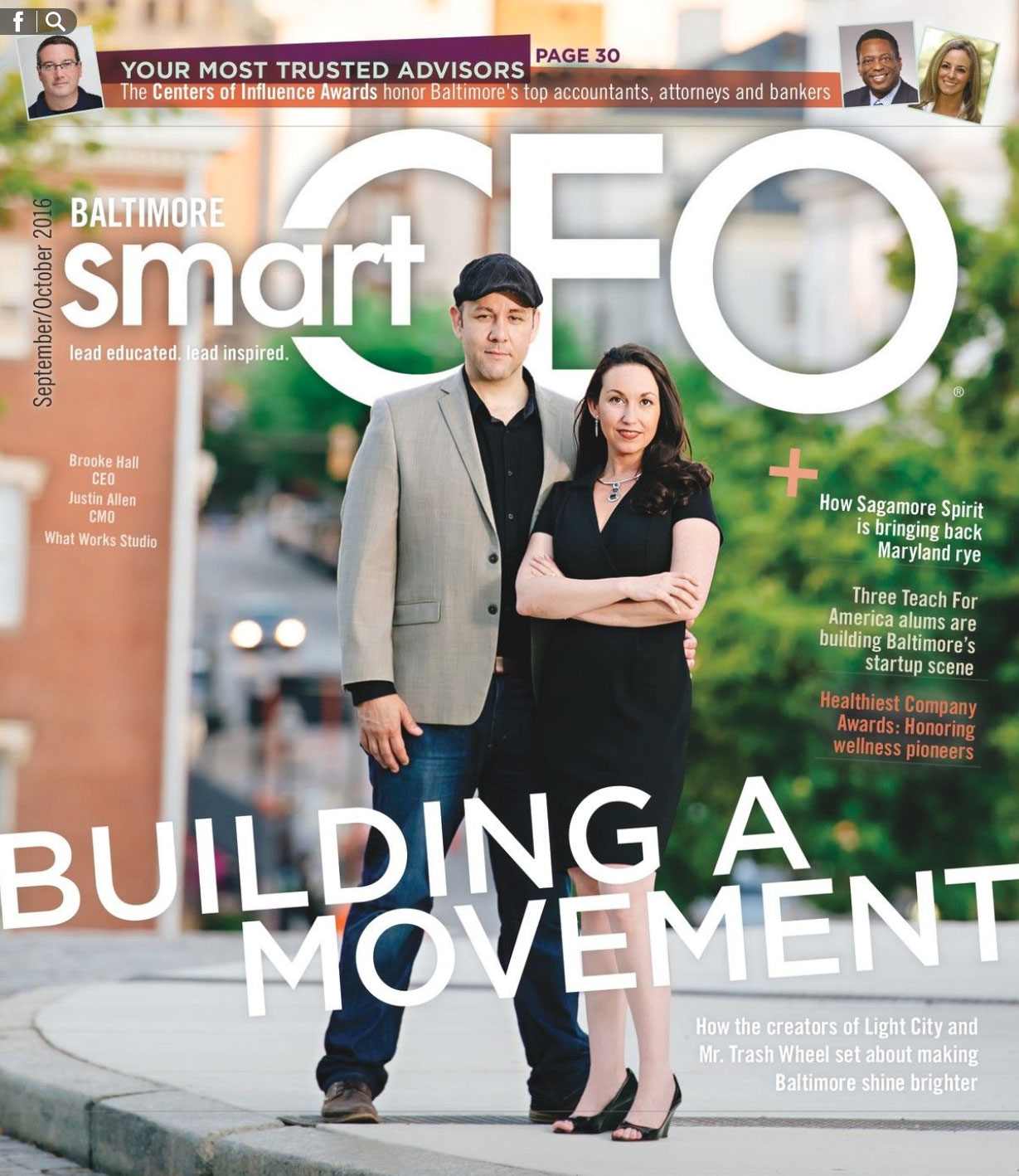 Brooke Hall and Justin Allen on the Cover of SmartCEO, Light City