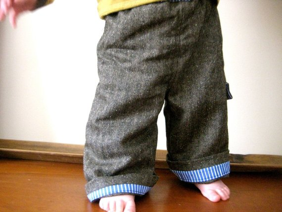 HERRINGBONE wool little boy pants