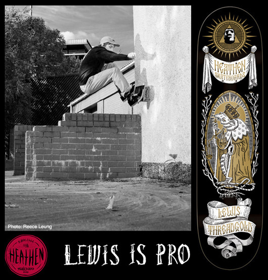 Board graphic for Lewis Threadgold's debut Pro model on Heathen Skateboards by Herman Inclusus