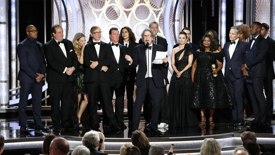 Director Peter Farrelly onstage speaking about 'Green Book' during the 76th Golden Globes.
