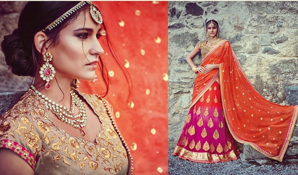 Pink & Orange Banarsi Silk Net Embroidered Lehenga With Dupion Silk Choli