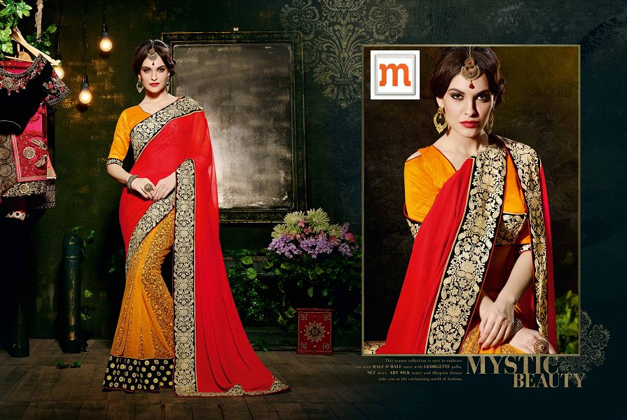 Orange & Red Net Embroidered Saree With Art Silk Blouse
