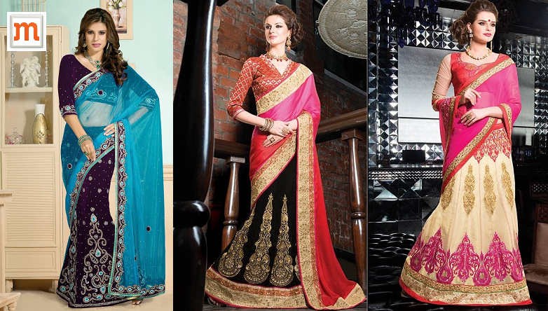 Designer Wedding Wear Lehenga Sarees at Moksha Fashions
