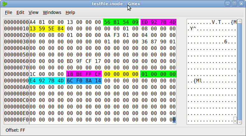 EXT4 inode with timestamps highlighted