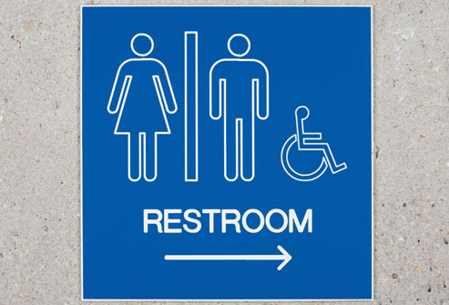 Sign indicating restroom location