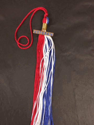 The Honor Cord Company Veteran Tassel in red, white, and blue