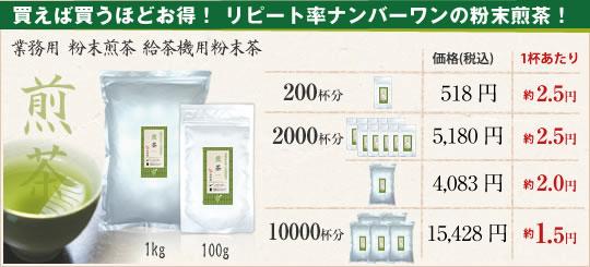 粉末緑茶の価格比較