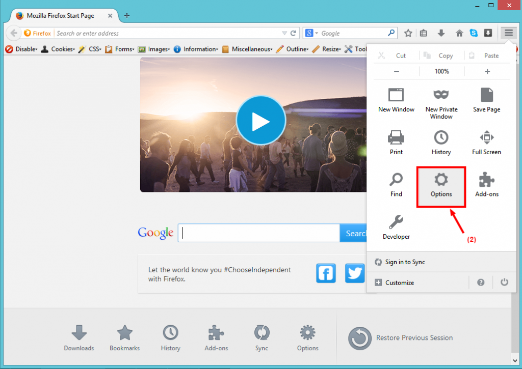 Step 2 in setting your home page on Firefox