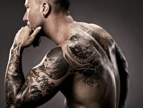 Sleeve tattoo on man