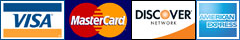 We Accept VISA, Master Card, Discover, and American Express