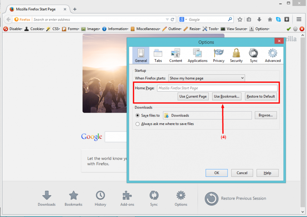 set your homepage on firefox - step 3