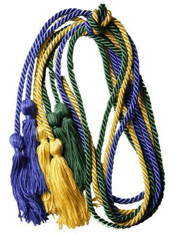 The Honor Cord Company Graduation Cords in purple, yellow, and green