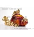 威尔特工艺欧式复古家居饰品透明树脂POLY铂晶金鱼首饰品盒