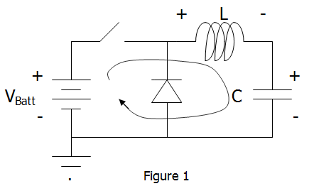 LC Circuit with battery, series switch, and diode