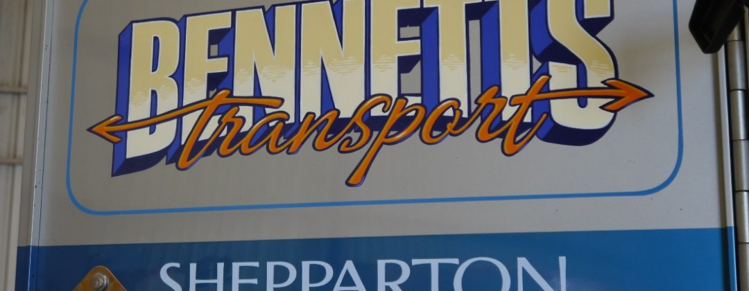 Handpainted truck door for Bennett's Transport of Shepparton