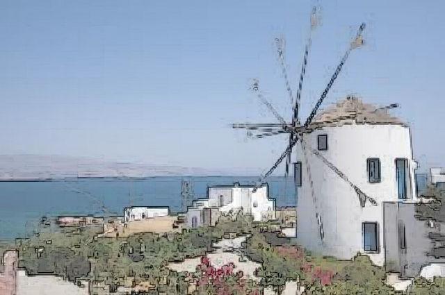 Windmills sights, Mykonos town, Mykonos, Greece