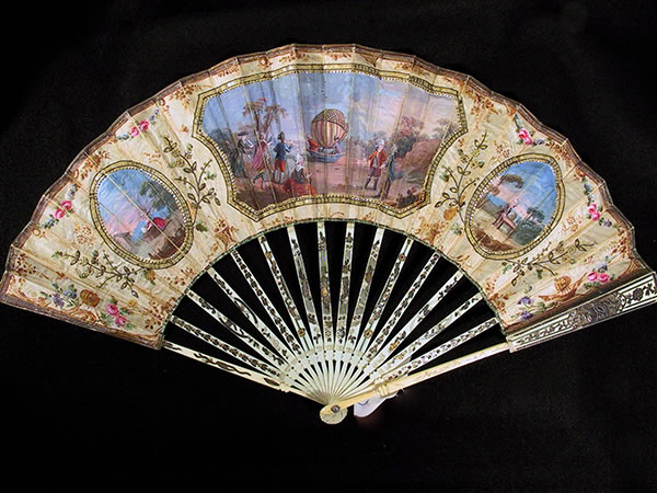 Ballooning and Early Aviation Collection: Fan with scenes of 1783 balloon ascent by Robert