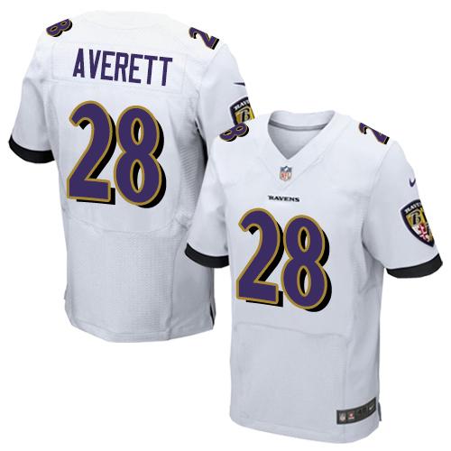 Men's Anthony Averett White Road Elite Football Jersey: Baltimore Ravens #28  Jersey