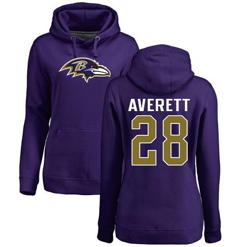 Women's Anthony Averett Purple Name & Number Logo Football : Baltimore Ravens #28 Pullover Hoodie
