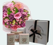 Pretty Flower posy and Scullys Apothecary peony gift box. Free Delivery North Shore Hospital