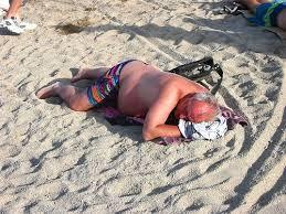 Fat Czech on beach (short