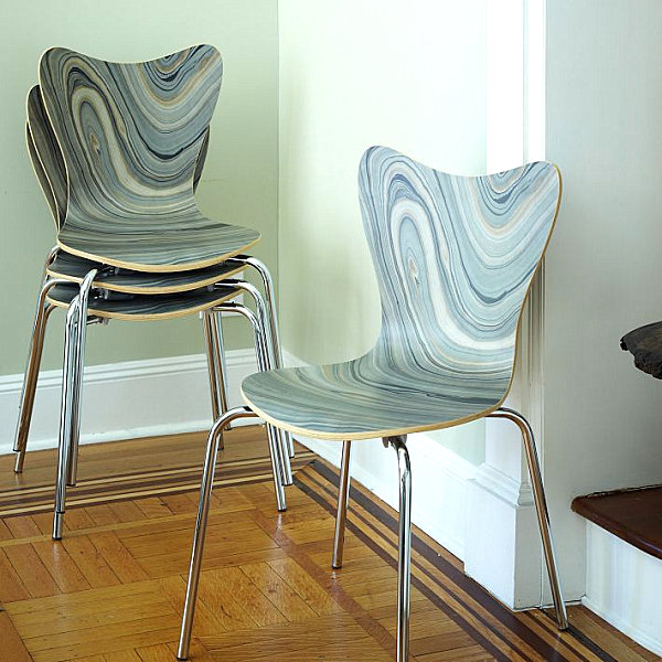 Colorful Fall Decor for New Display in the Home : Fantastic Chair With Marbleized Effect With Minimalist Design Ideas