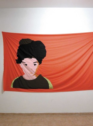 The Reason to continue  2002, embroidered flag, 310 x 195 cm.