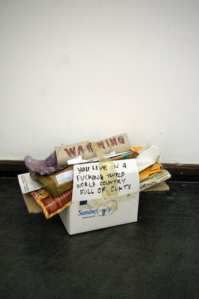 The Warning Sculpture 2005, paper, tape and cardboard, 53x26x27 cm.