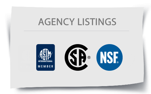 Mission Rubber Agency Approvals: ASTM, CSA, NSF, UPC