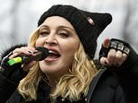 FILE - In this Jan. 21, 2017 file photo, Madonna performs on stage during the Women's March rally in Washington.  Madonna will be honored at the 30th annual GLAAD Media Awards for a lifetime of accelerating acceptance of the LGBTQ community. The lesbian, gay, bisexual, transgender and queer advocacy group on Tuesday, Feb. 5, 2019,  said it will present Madonna with its advocate for change award.   (AP Photo/Jose Luis Magana, File)