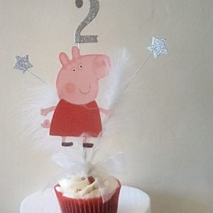 Great Peppa Pig Cake Topper which comes with any age. Made up of top quality die cuts on silver finish wiring. Comes in a small cone which fits inside the cake hidden from view. Would make any little birthday girl very happy