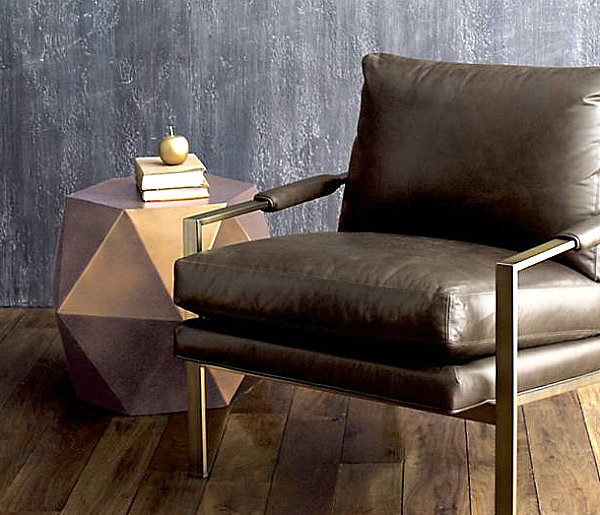Colorful Fall Decor for New Display in the Home : Fabulous Geometric Side Table With Brown Leather Chair Design Ideas