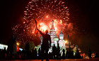 Fireworks explodes over Red Square, with St. Basil's Cathedral seen on the background