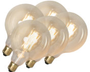 Calex-Set van 5 LED filament lamp G125 E27 4W dimbaar