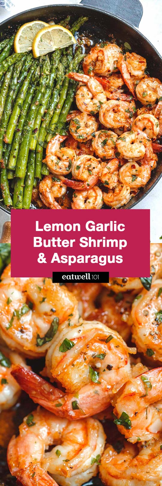 #Lemon Garlic Butter #Shrimp with #Asparagus - #eatwell101 #recipe - So much flavor and so easy to throw together, this #shrimp #dinner is a winner!