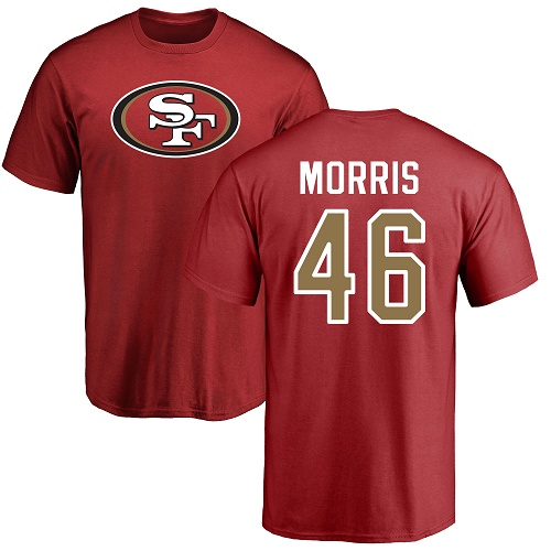 Alfred Morris Red Name & Number Logo Football : San Francisco 49ers #46 T-Shirt
