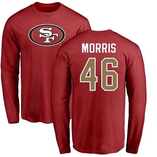 Alfred Morris Red Name & Number Logo Football : San Francisco 49ers #46 Long Sleeve T-Shirt