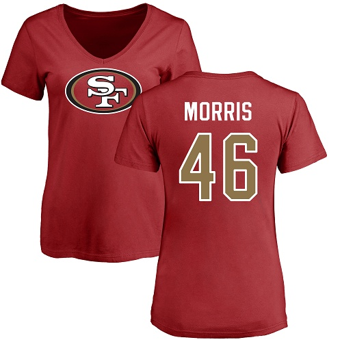 Women's Alfred Morris Red Name & Number Logo Football : San Francisco 49ers #46 T-Shirt