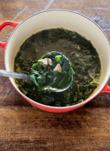 Seaweed soup in a pot