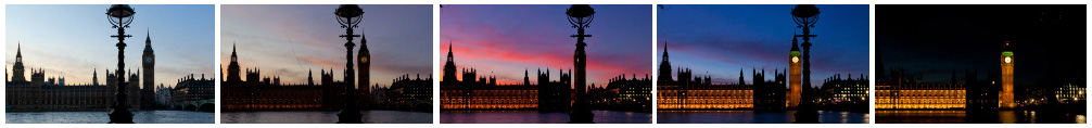 Houses of Parliament sunset track cu filmstrip