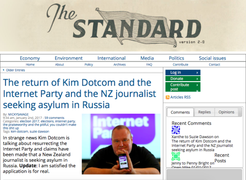January 2, 2017: Hot on the heels of the We Are Change interview with Suzie, major New Zealand political blog The Standard become the most well-known Kiwi publication to date, to acknowledge Suzie's application for asylum. Read the full article here.