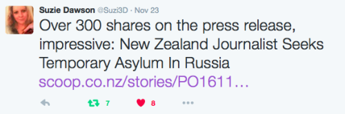 November 23rd, 2016: With (now) nearly 400 shares on the press release about Suzie's application for temporary asylum it seems that the mainstream media lid is going to come off soon. Multiple media requests are being fielded by Suzie's spokesperson...